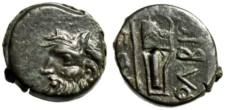 "Ancient Coins - Skythia, Olbia AE19 ""River God Borysthenes / Axe & Bowcase"" Good VF"
