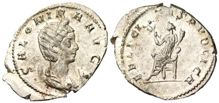 "Ancient Coins - Salonina Silver AR Ant. ""Felicitas Seated"" Cologne Mint RIC 6 EF Stunning"
