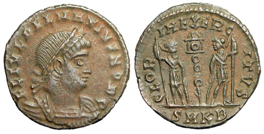 """Ancient Coins - Delmatius AE16 """"GLORIA EXERCITVS Soldiers One Standard"""" Cyzicus RIC 146 Rare nEF"""