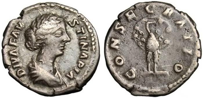 "Ancient Coins - Faustina II, AR Posthumous Denarius ""Peacock Facing"" Rome RIC 743"
