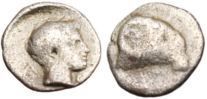 "Ancient Coins - Caria, Halikarnassos Silver AR Hemiobol ""Ram & Young Male"" 400-340 BC"