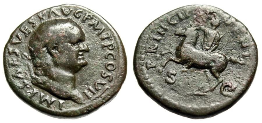 """Ancient Coins - Vespasian Dupondius """"PRINCIP IVVENT Horseback"""" Reverse Mule Very Rare RIC 888"""