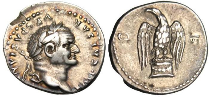 """Ancient Coins - Vespasian, AR Denarius """" COS VII Eagle Standing"""" RIC 99 VF"""