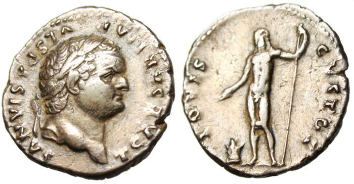 "Ancient Coins - Titus Silver AR Denarius ""IOVIS CVSTOS Jupiter Naked"" RIC 874 Rome VF"