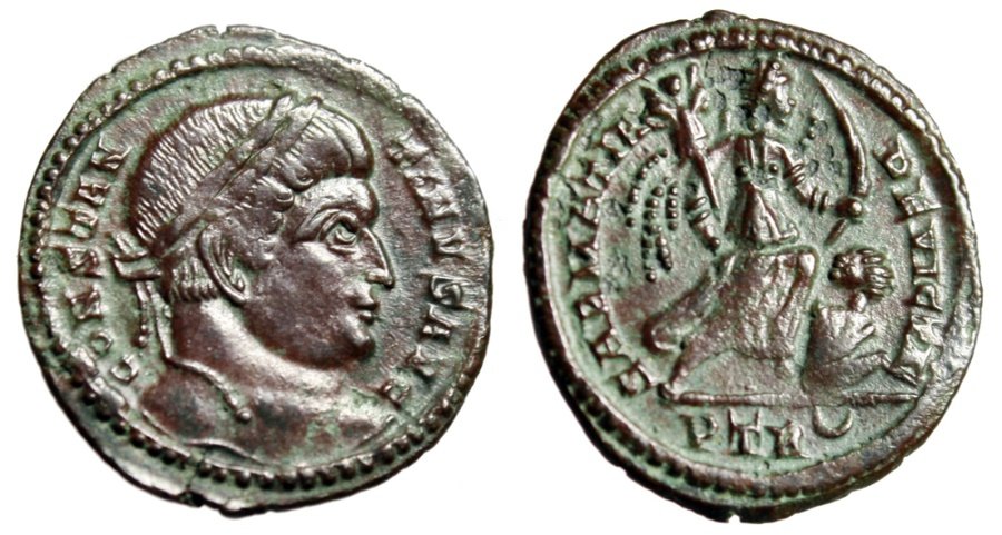 """Ancient Coins - Constantine I The Great AE20 """"SARMATIA DEVICTA Victory, Captive"""" Trier RIC 435"""