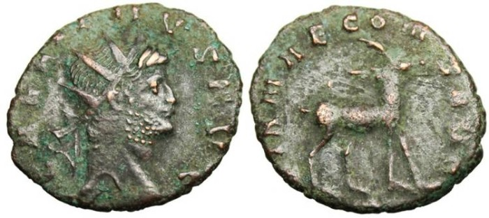 "Ancient Coins - Gallienus, Zoo Series Antoninianus ""Antelope Right"" RIC 181"