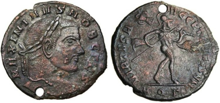 "Ancient Coins - Maximinus II Follis ""Mars With Trophy & Spear"" HOLED Aquileia RIC 71b Scarce"