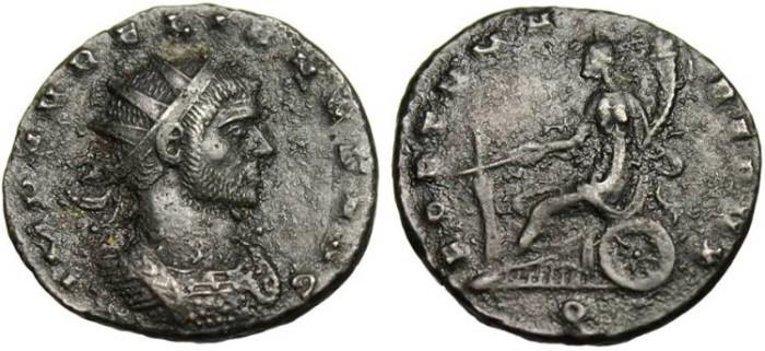 """Ancient Coins - Aurelian, AE Ant. """"FORTVNA REDVX"""" Mediolanum RIC 128"""