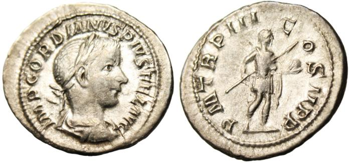 "Ancient Coins - Gordian III Silver AR Denarius ""Holding Spear & Globe"" RIC 115 Good VF"