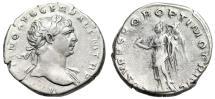 "Ancient Coins - Trajan AR Denarius ""Victory With Wreath & Palm"" 103-111 AD Rome RIC 128 VF"