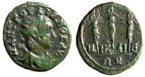 "Ancient Coins - Gordian III AE18 ""Three Signa"" Bithynia Nicaea 238-244 AD gF Green"