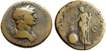 "Ancient Coins - Trajan Sestertius ""Providentia, Globe"" Rome 114-117 AD RIC 663 Longest Obverse"
