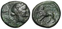 """Ancient Coins - Lydia, Sardes AE18 """"Dionysos & Lion Standing Facing, Breaking Spear in Jaws"""""""