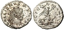 """Ancient Coins - Gallienus AR Ant. """"VICT GERMANICA """"Victory Globe Captives"""" RIC 49 EF"""