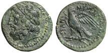 "Ancient Coins - Sicily, Panormos AE23 ""Head of Zeus & Eagle Facing, Wings Spread"" VF Rare"