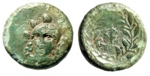 "Ancient Coins - Phokis, Federal Coinage AE14 ""Athena Facing & Phi in Laurel Wreath"" Phayllos"