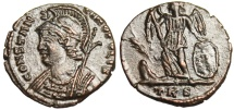 """Ancient Coins - Constantinople City Commemorative AE3 """"Victory, Palm Branch"""" Trier RIC 563 gVF"""