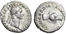 """Ancient Coins - Nerva AR Denarius """"CONCORDIA EXERCITVVM Two Clasped Hands"""" Rome 97 AD gVF"""