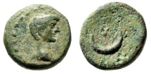 "Ancient Coins - Augustus AE12 ""Bare Head / Crescent, Star AP"" Asia Minor Uncertain Rare Type"