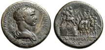 "Ancient Coins - Trajan Sestertius ""IMPERATOR VIIII Addressing Troops, Horse"" RIC 658 Rare VF"