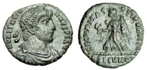 "Ancient Coins - Valentinian I AE3 ""SECVRITAS REIPVLBLICAE Victory RSECVNDA"" Rome RIC 17a Rare aEF"