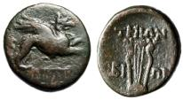 "Ancient Coins - Ionia, Teos AE19 ""Griffin Running & Lyre"" Bion Magistrate Good Fine"