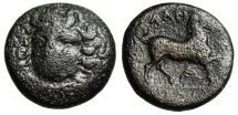 "Ancient Coins - Thessaly, Larissa AE19 ""Nymph Facing & Horse Trotting"" 400-344 BC"