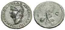"Ancient Coins - Nero AE As ""Victory, SPQR Shield"" Rome Mint 66AD RIC 544 VF Tyrannical Emperor"