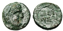 """Ancient Coins - King of Thrace: Lysimachos AE14 """"Lysimachos as Herakles & Name in Wreath"""""""