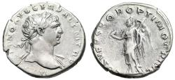 "Ancient Coins - Trajan AR Denarius ""Victory With Wreath & Palm"" 103-111 AD Rome RIC 128 VF"
