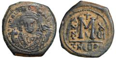 "Ancient Coins - Maurice Tiberius AE Follis ""Facing Portrait & Large M, RY 6"" Theoupolis VF"