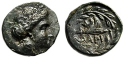"Ancient Coins - Thessaly, Larissa Cremaste AE14 ""Nymph & Harpa in Wreath"" Choice EF Very Rare"