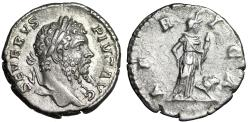 "Ancient Coins - Septimius Severus AR Denarius ""AFRICA Africa, Elephant Headdess & Lion"" Good VF"