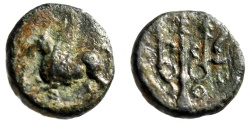 "Ancient Coins - Corinthia, Corinth AE12 ""Pegasus Flying & Trident, Torch"" BCD 283 Good Fine"