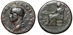 """Ancient Coins - Galba Sestertius 68-69 AD """"CONCORD AVG Concordia Seated"""" RIC 340 Very Rare nVF"""