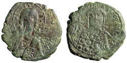 """Ancient Coins - Constantine X AE Follis """"Facing Christ Portrait & Emperor"""" Good Fine"""