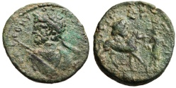 """Ancient Coins - Septimius Severus AE25 """"Spear Bust & Zeus Head Atop Horse"""" Syria, Uncertain Extremely Rare"""