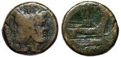 "Ancient Coins - Roman Republic Anonymous AE As ""Janus & Prow"" After 211 BC 33mm 36.81g Fine"