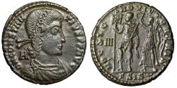 """Ancient Coins - Constantius II AE Centenionalis """"HOC SIGNO VICTOR ERIS Crowned By Victory"""" nEF"""