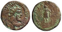 "Ancient Coins - Postumus AE Double Sestertius ""Mars, Globe"" Lyons 261 AD RIC 106 Scarce gF"