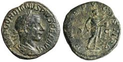 """Ancient Coins - Gordian III AE Sestertius """"Emperor With Spear & Globe"""" 241 AD Good VF"""