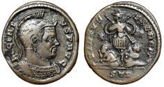 "Ancient Coins - Licinius I AE19 ""Helmeted Portrait & Trophy"" Trier RIC Unlisted Officina Rare"