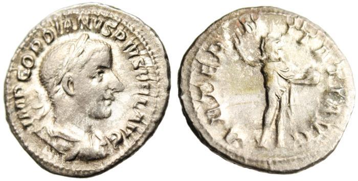 "Ancient Coins - Gordian III Silver AR Denarius ""Sol Sun Deity"" Rome RIC 111 Good Fine"