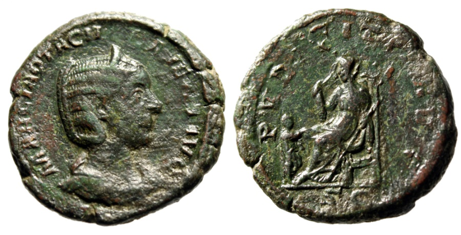 "Ancient Coins - Otacilia Severa (Wife of Philip I) AE As ""Pudicitia Seated, Child"" RIC 210 Rare"