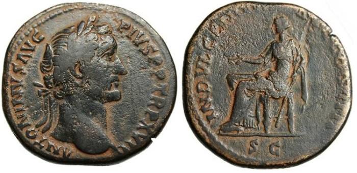 """Ancient Coins - Antoninus Pius, AE Sestertius """"Indulgentia"""" RIC 914"""
