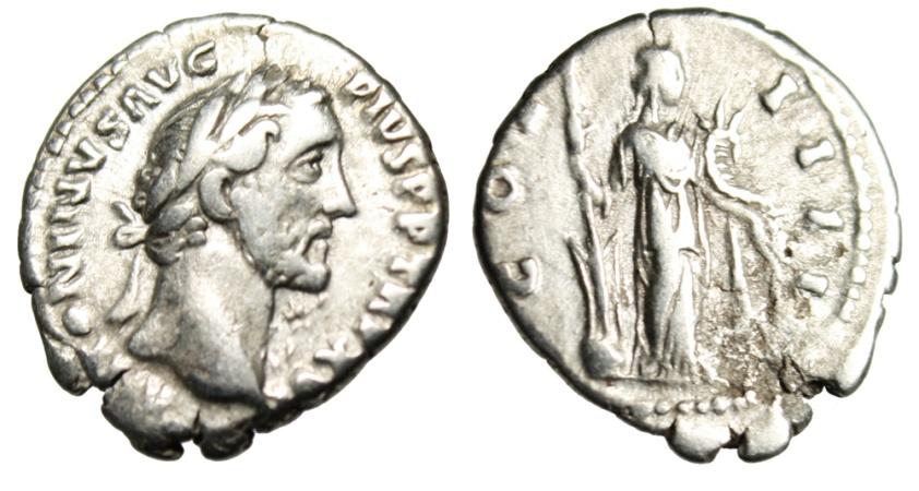 """Ancient Coins - Antoninus Pius Silver Denarius """"Fortuna With Cornucopiae"""" Rome RIC 232 gF"""