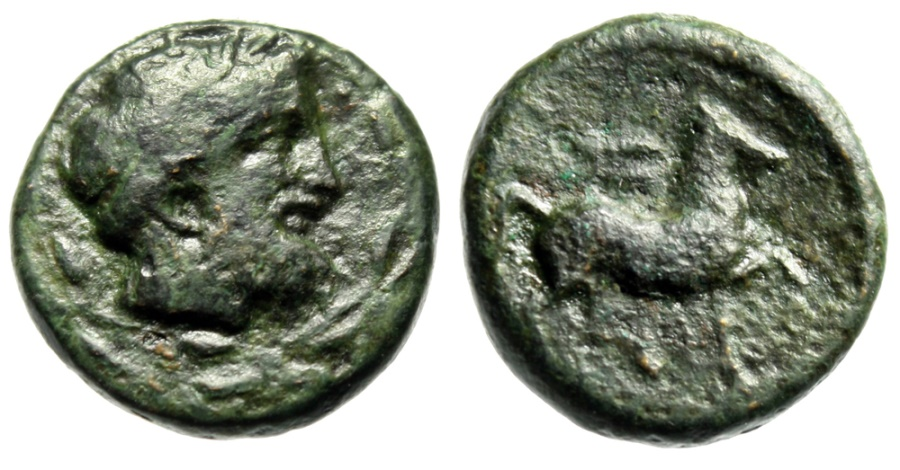 "Ancient Coins - Thessaly, Kierion AE17 ""Zeus Head in Wreath & Horse, Thunderbolt"" Unpublished"