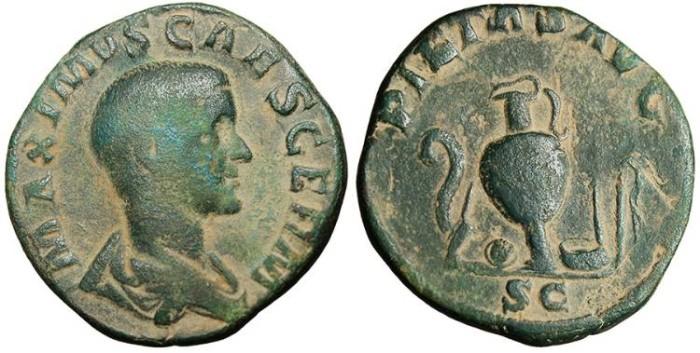 """Ancient Coins - Maximus Caesar, AE Sestertius """"PIETAS AVG Implements"""" Rome RIC 6 gF"""