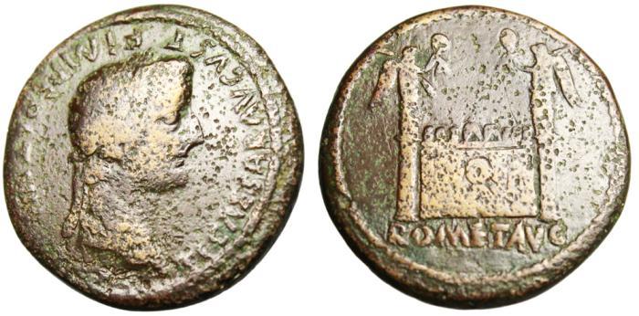 """Ancient Coins - Tiberius AE Dupondius """"Altar of Lugdunum"""" RIC 244 Lyons Scarce"""