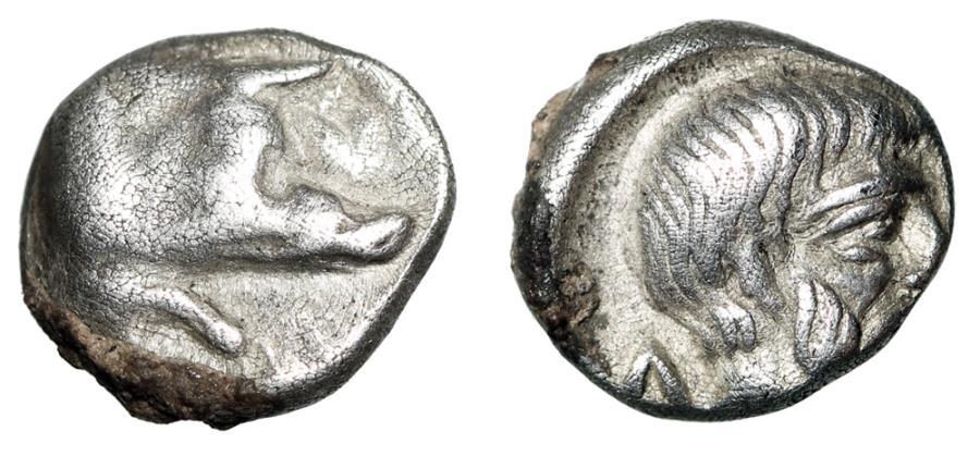 """Ancient Coins - Caria, Euromos AR Hemiobol """"Forepart Boar & Head of Lepsynos"""" aVF"""